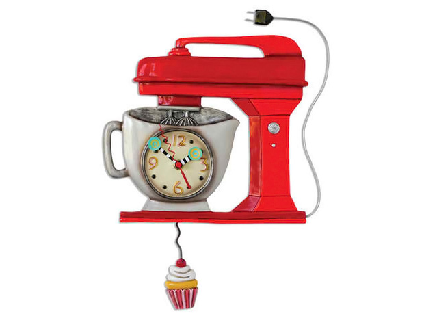 Whimsical Vintage Retro Style Red Mixer Clock