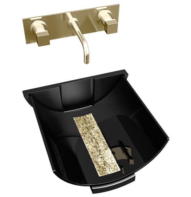 Murano Glass Calla Black Gold Vessel Sink