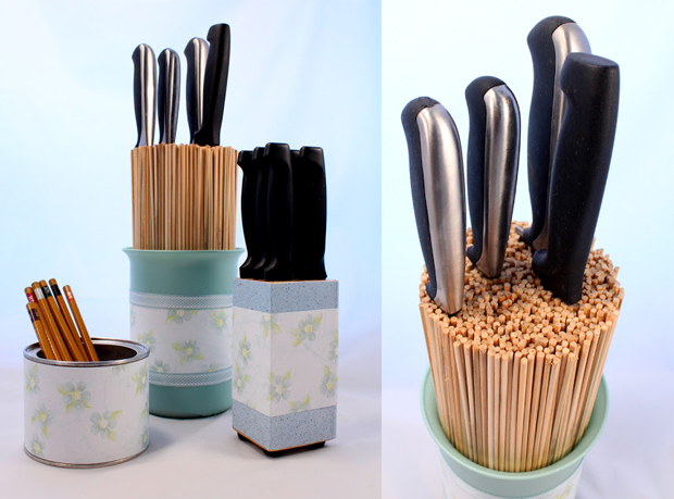 bamboo skewers for knife storage