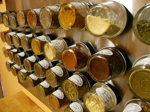 magnetic wall spice storage
