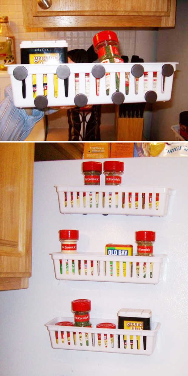 stick magnetic racks to the side of your fridge