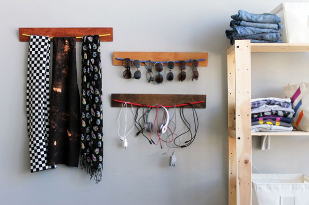 home organisation hacks: DIY Wooden Bungee Organizer