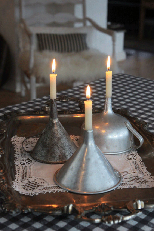funnel candlestick holders