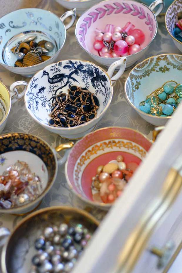 tea cup jewelry storage