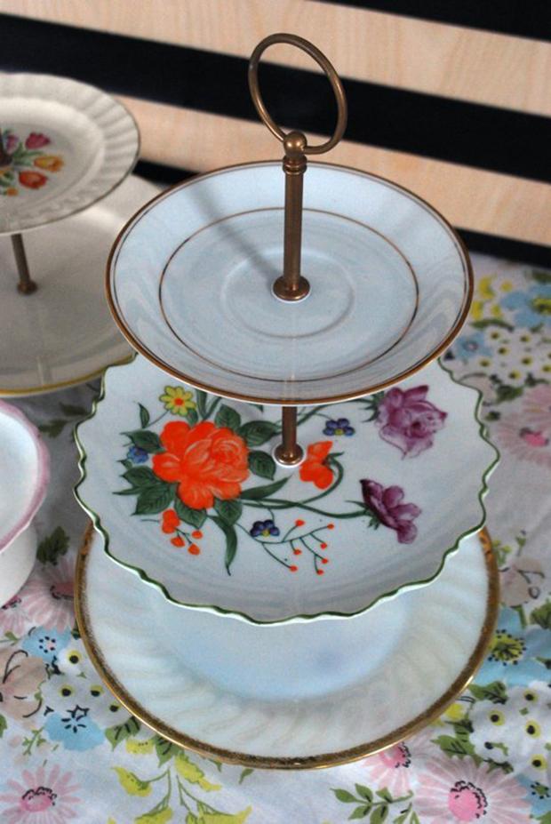 vintage plate tiered dessert stand