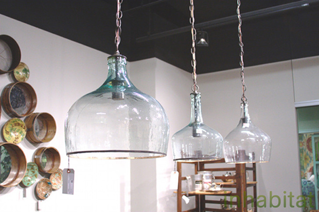 lamps shades crafted from repurposed glass that