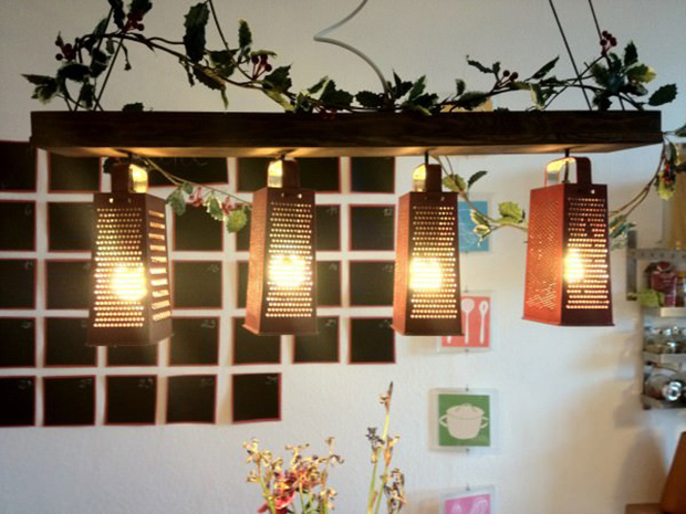 recycled graters lamp