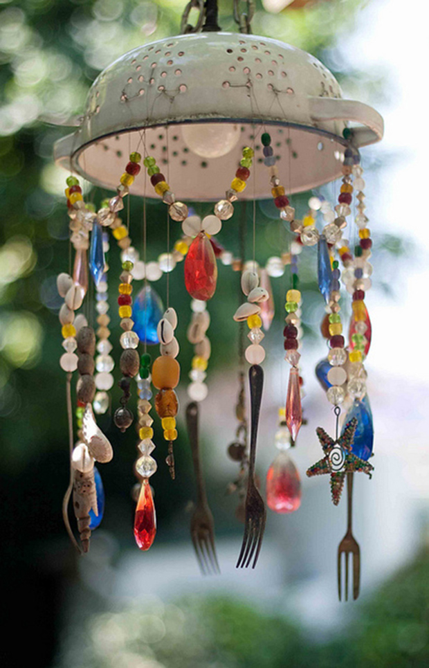 Kitchen Items Repurposed Chandelier