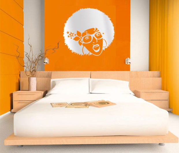 Orange Wall Bedroom