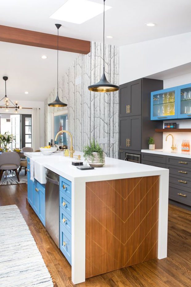 Bright Blue Storage Kitchen Island Ideas