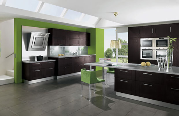 Brown and Green Kitchen