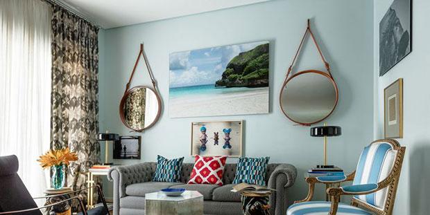 Neutral Patterns Living Room Curtain Ideas