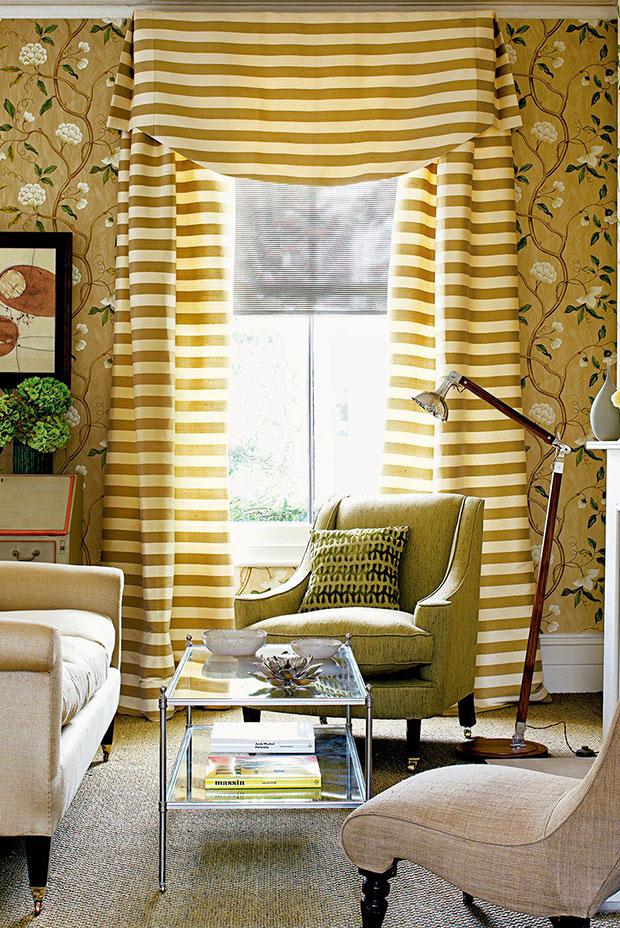 Classy Stripes Living Room Curtain Ideas