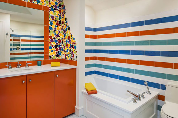 Multi-Graphics Bathroom Tile Ideas