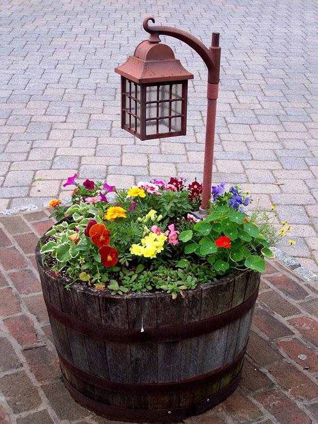 Wine Barrel Flower Bed Designs