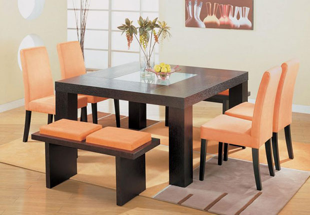 Orange and Wooden Dining Tables