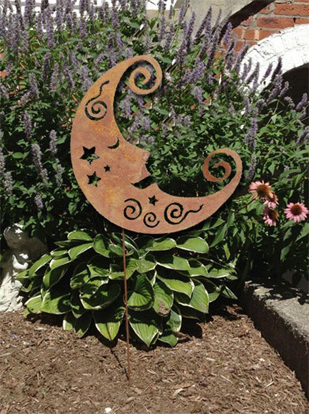 Crescent Moon Eclectic Garden Sculptures