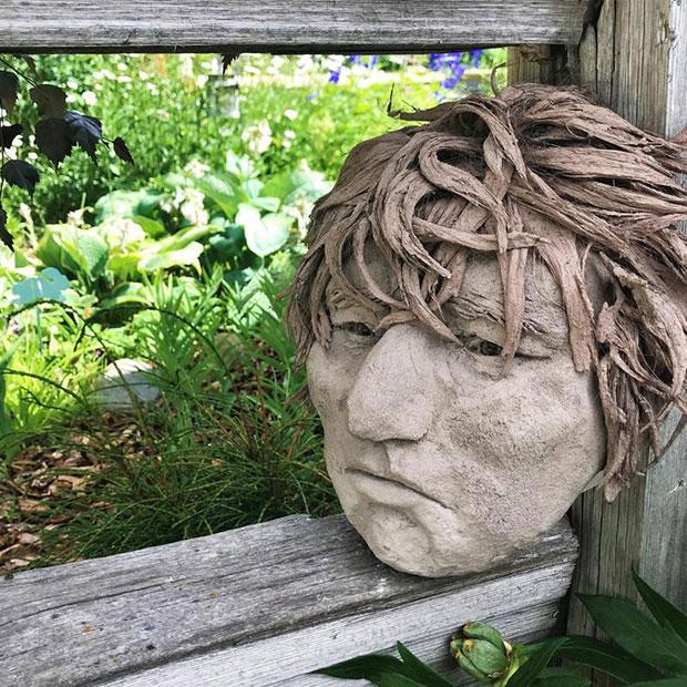Concrete Face Eclectic Garden Sculptures