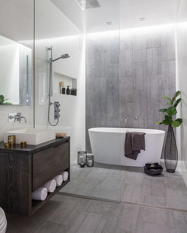 Zinc and Wood Vanity Gray Bathroom Ideas