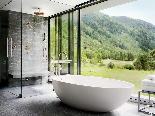 Bathtub View Gray Bathroom Ideas
