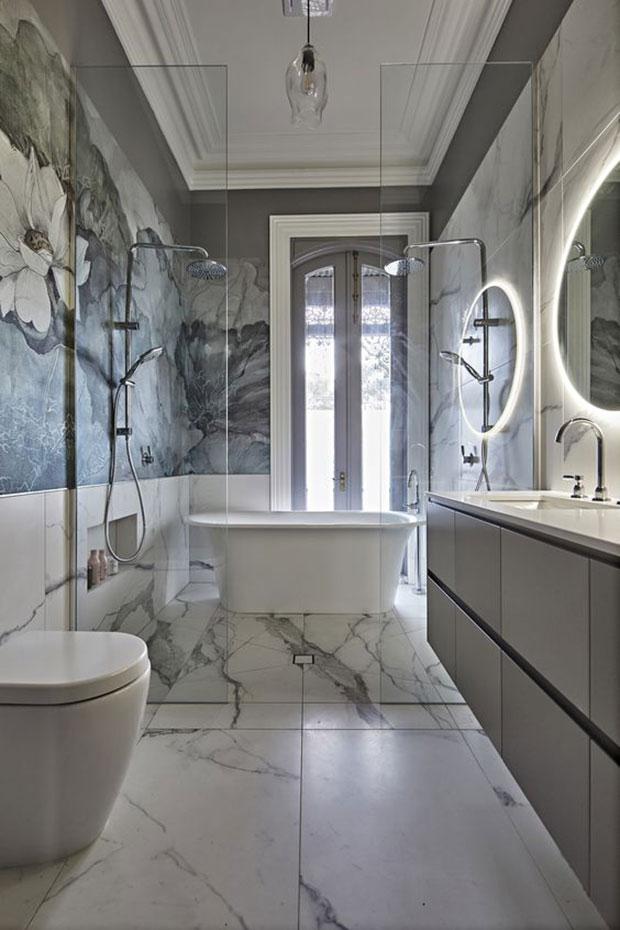 Floral Wallpaper Gray Bathroom Ideas