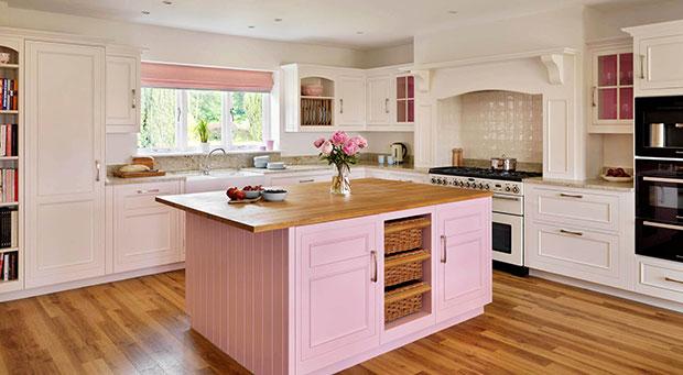 Handpainted Pink and Cream Original Kitchen