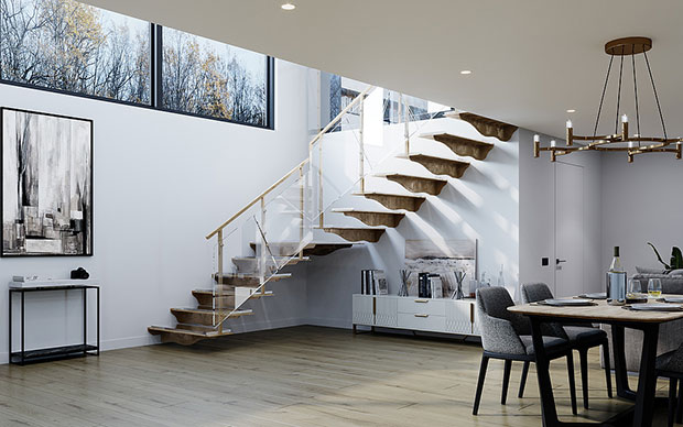 Floating Staircase in Steel, Cubus 3