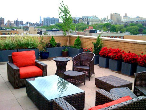 Contemporary Roof Garden in Harlem
