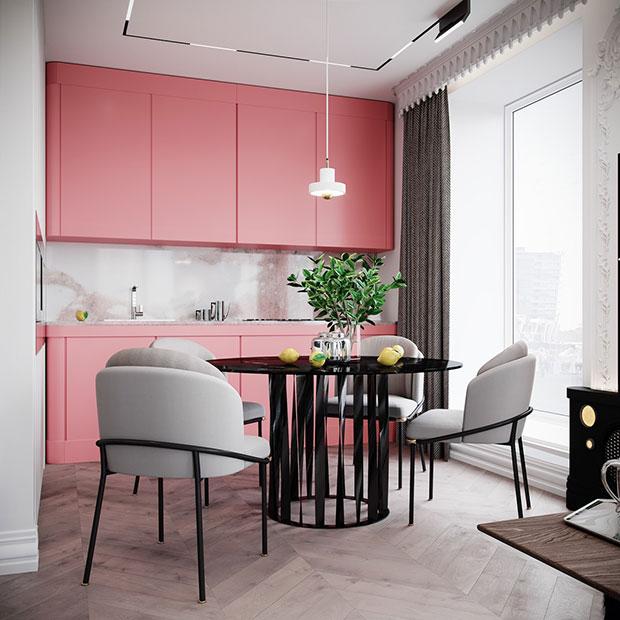 Flamingo Pink Kitchen
